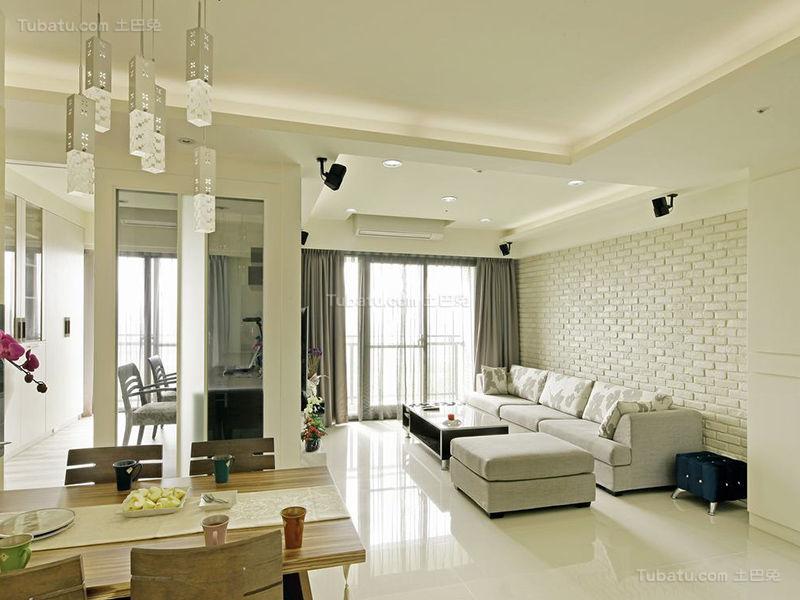 清新雅致现代化三居室设计效果图