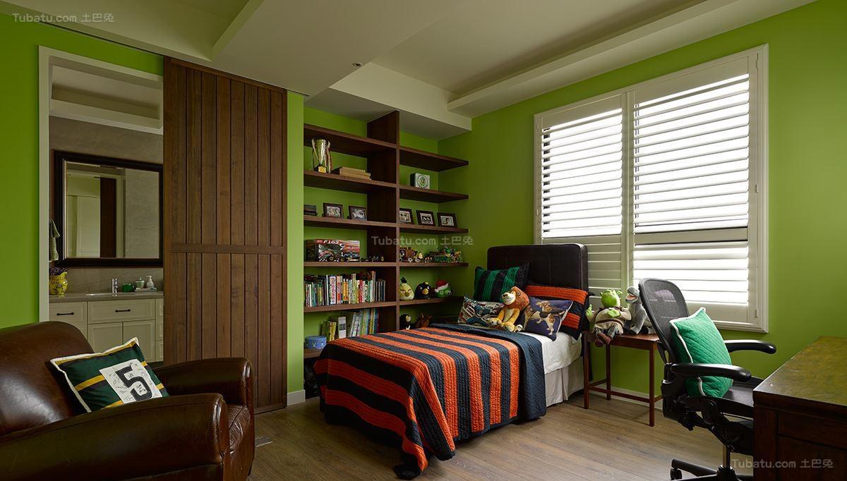 美式工业风格卧室设计效果图
