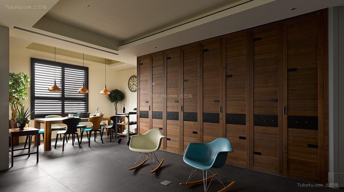 美式工业风格三居室设计效果图