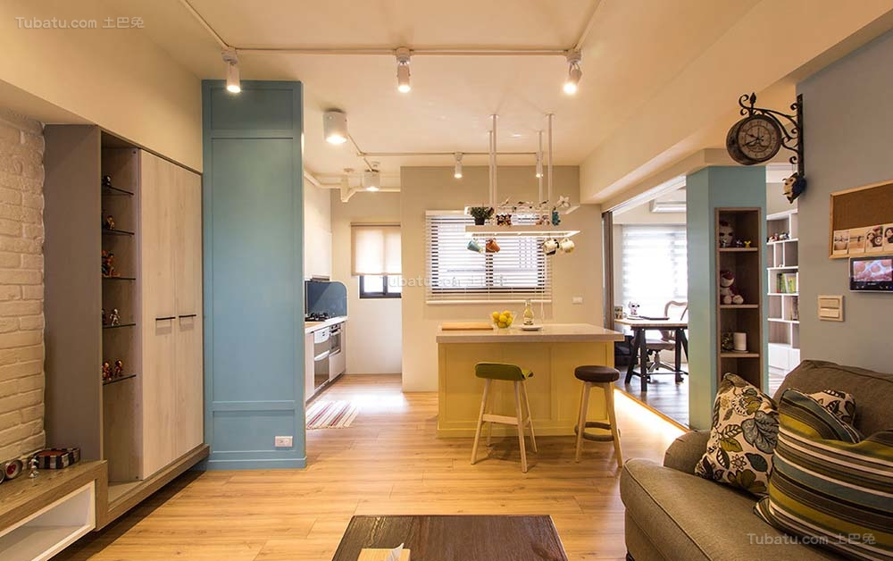 美式色彩乡村风两居室效果图