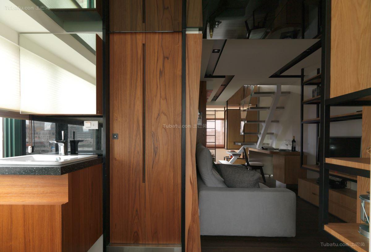 淡雅木质日式风复式楼设计效果图
