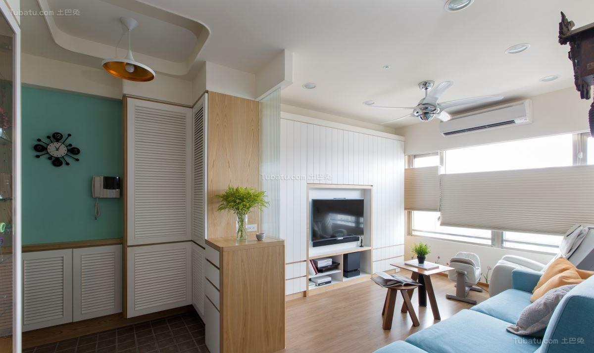 清新美观现代风格客厅玄关隔断设计效果图