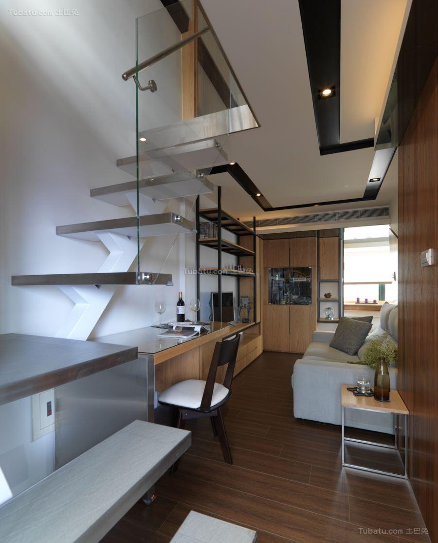 淡雅木质日式风楼梯设计效果图