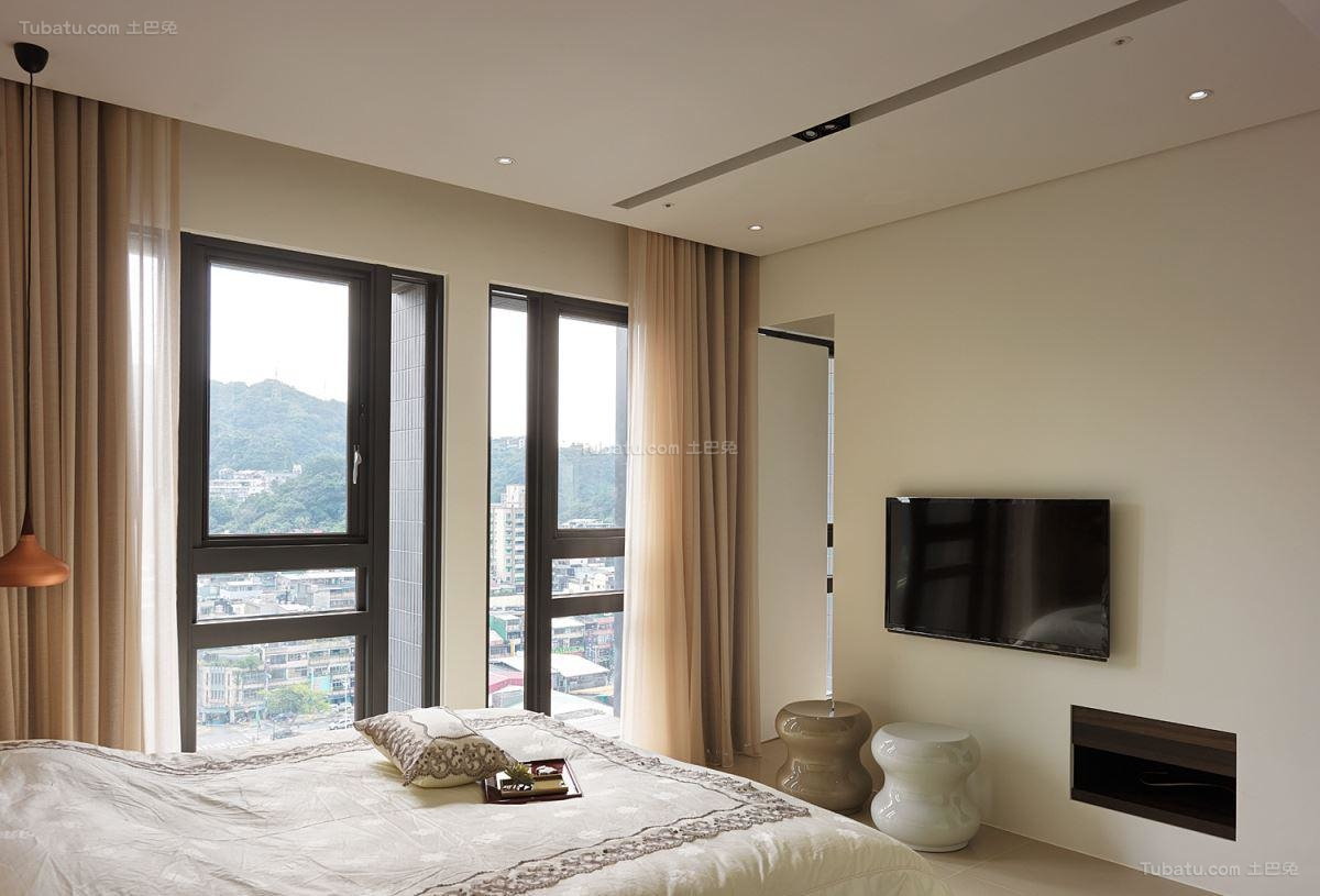 素雅时尚日式风卧室电视背景墙设计效果图