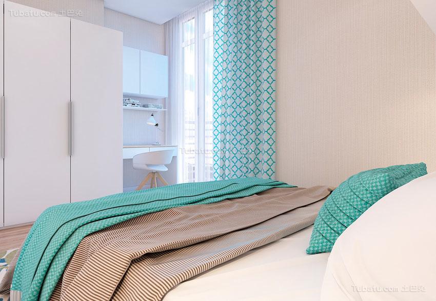 北欧风清爽度假感卧室图片