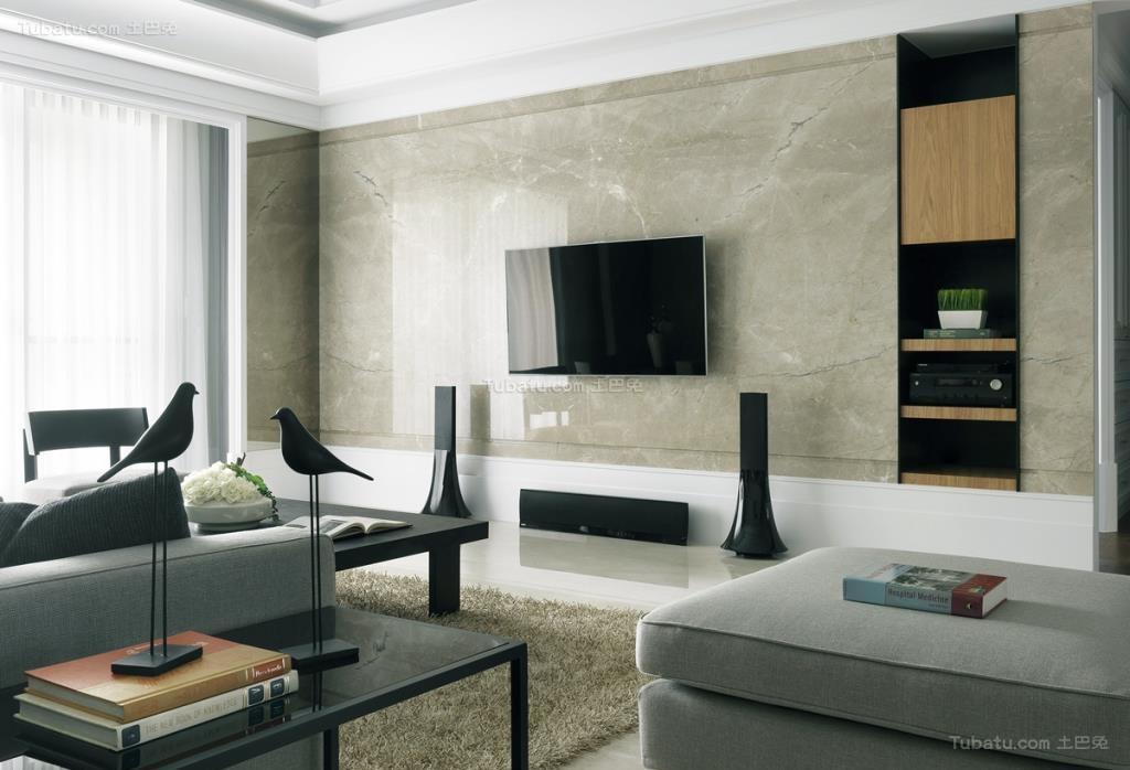 现代化大方时尚电视背景墙装修效果图
