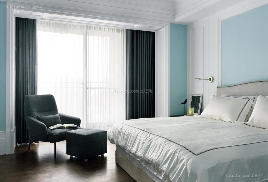 现代化大方时尚卧室窗帘装修效果图