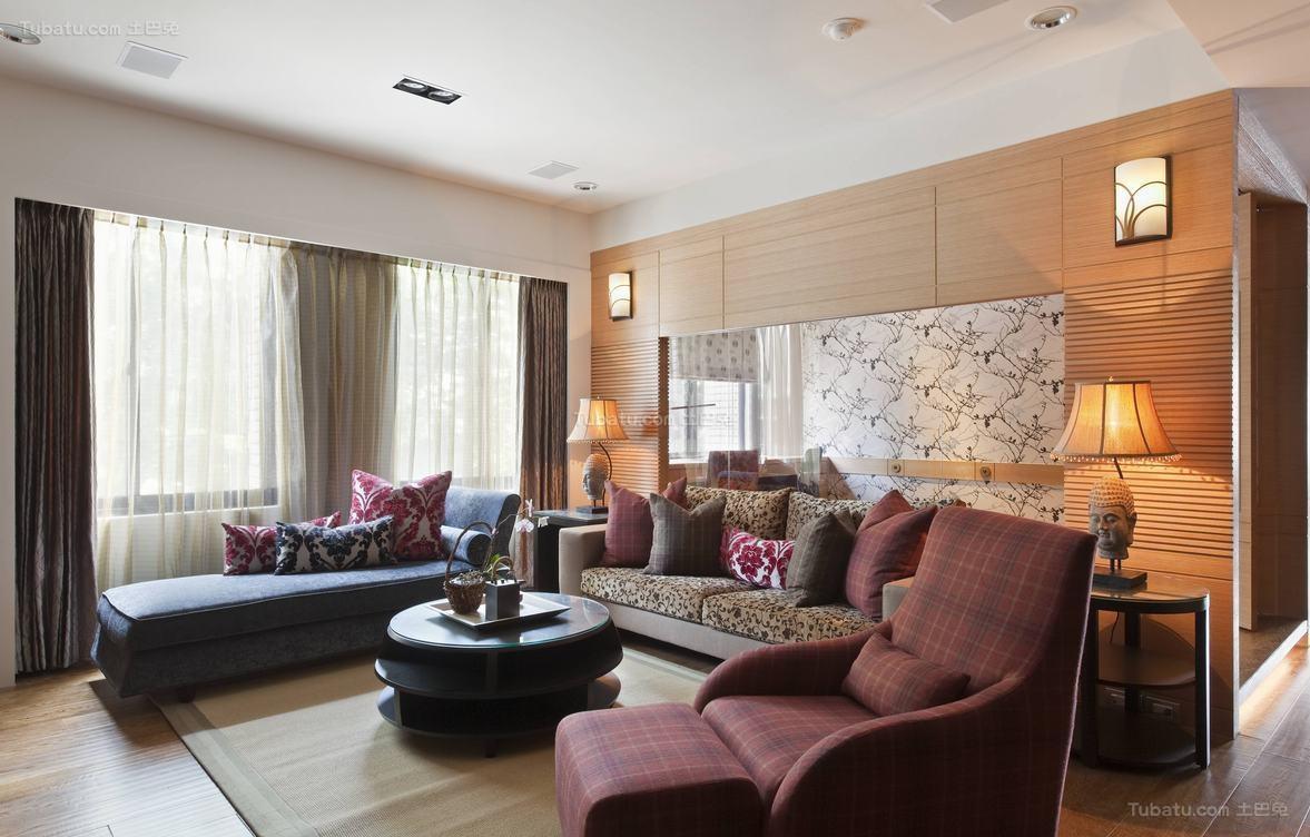 简洁舒适东南亚风格客厅装修效果图