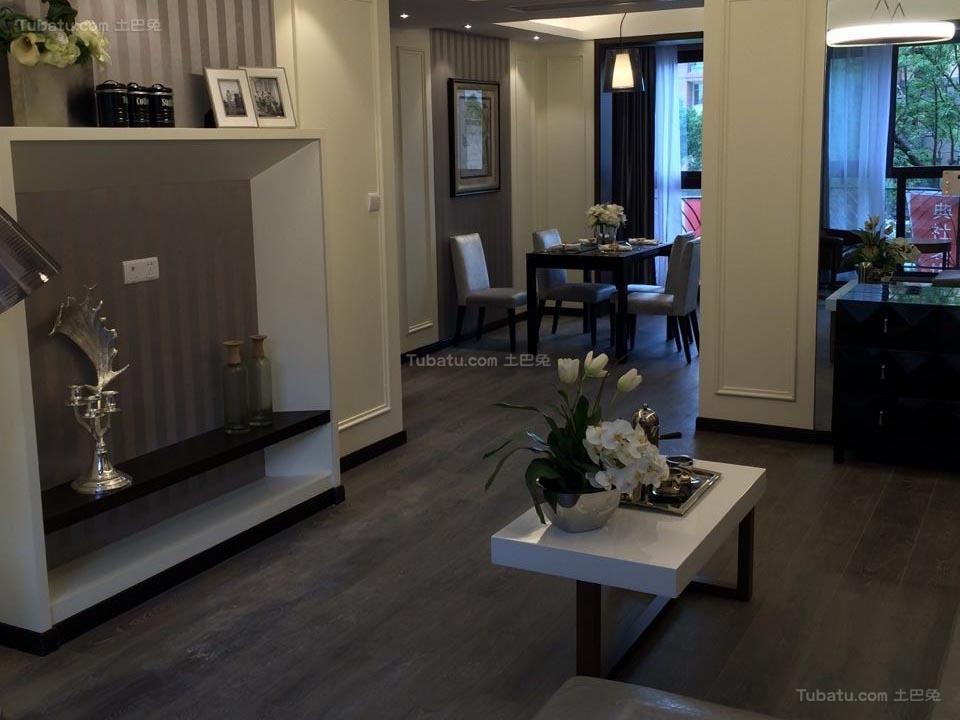 沉稳静谧现代风格三居室设计效果图