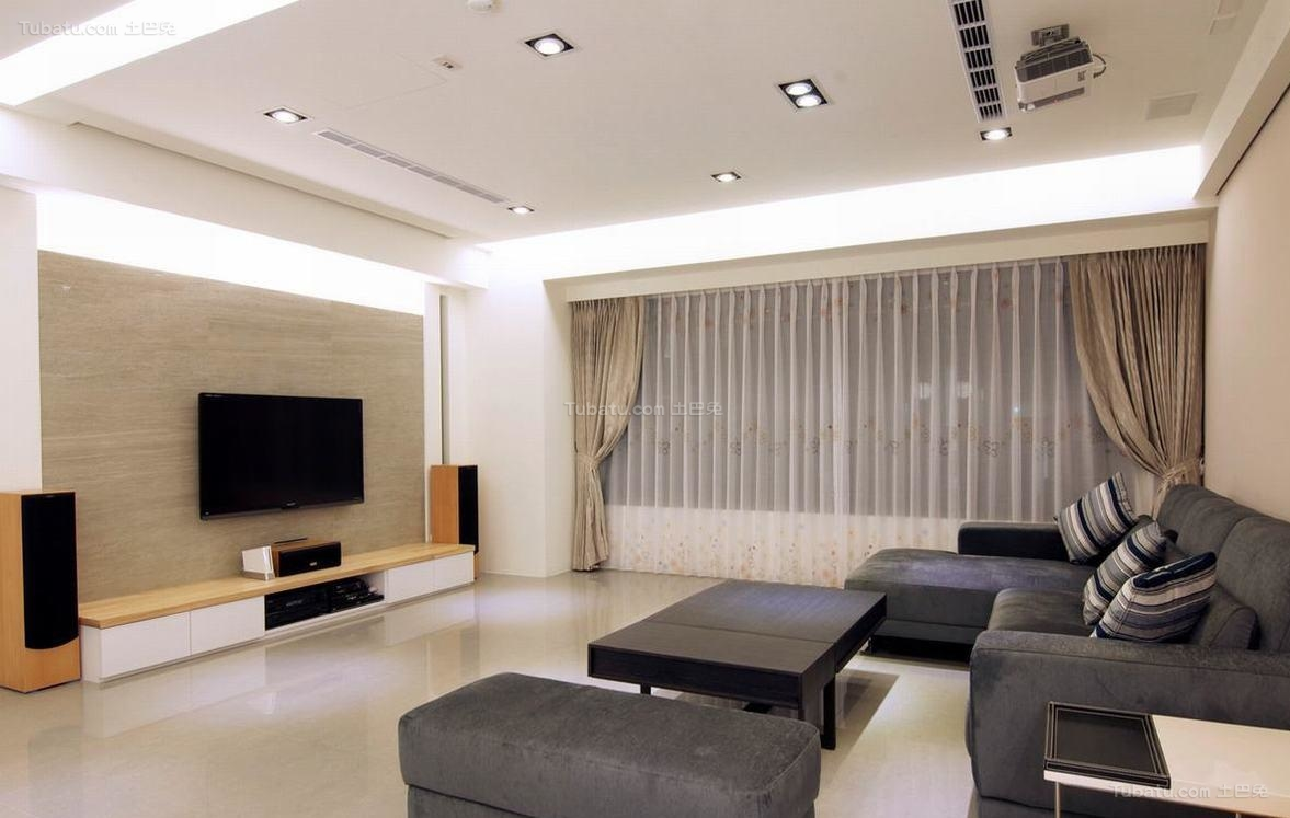 现代化时尚感电视背景墙装修效果图