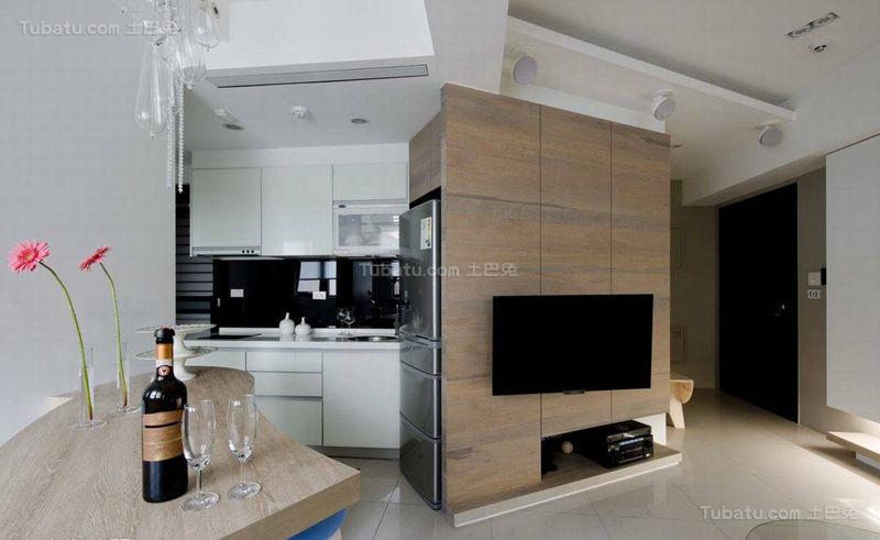 清新创意感十足的现代风格电视背景墙设计效果图