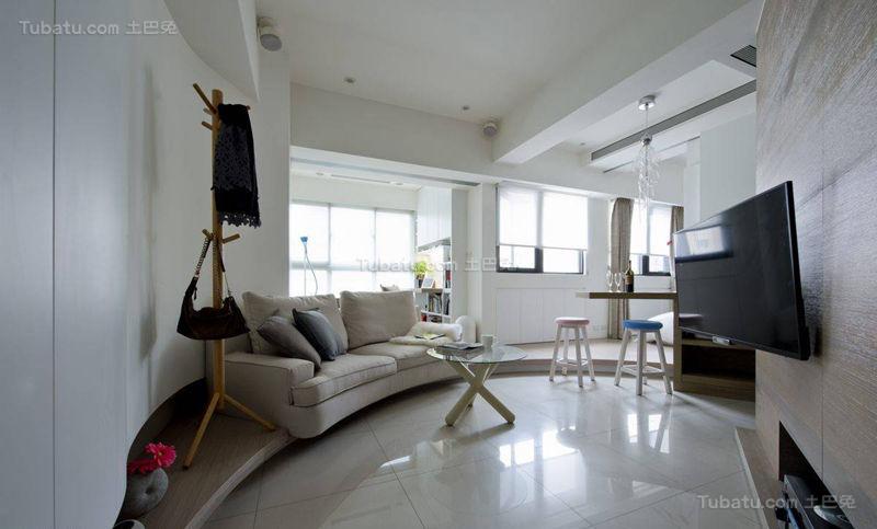 清新创意感十足的现代风格客厅设计效果图