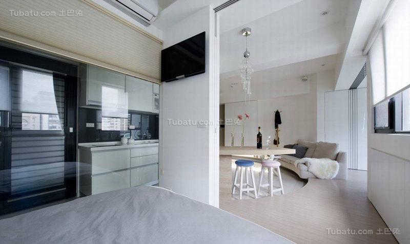 清新创意感十足的现代风格卧室隔断设计效果图