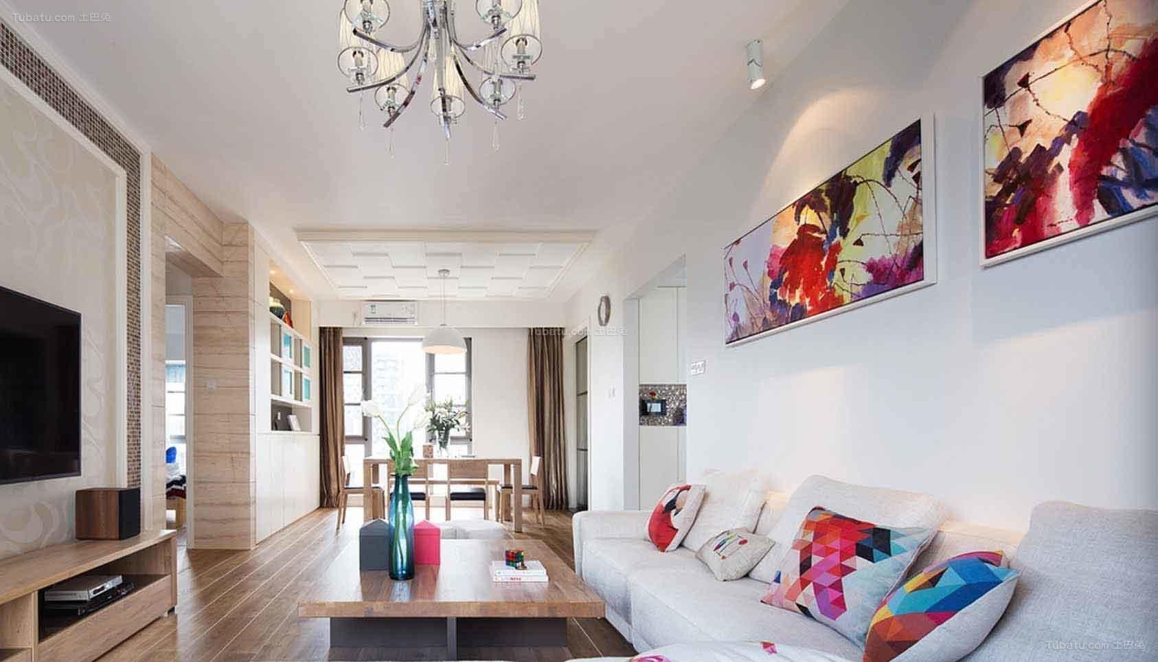 淡雅时尚简约风格二居室设计效果图
