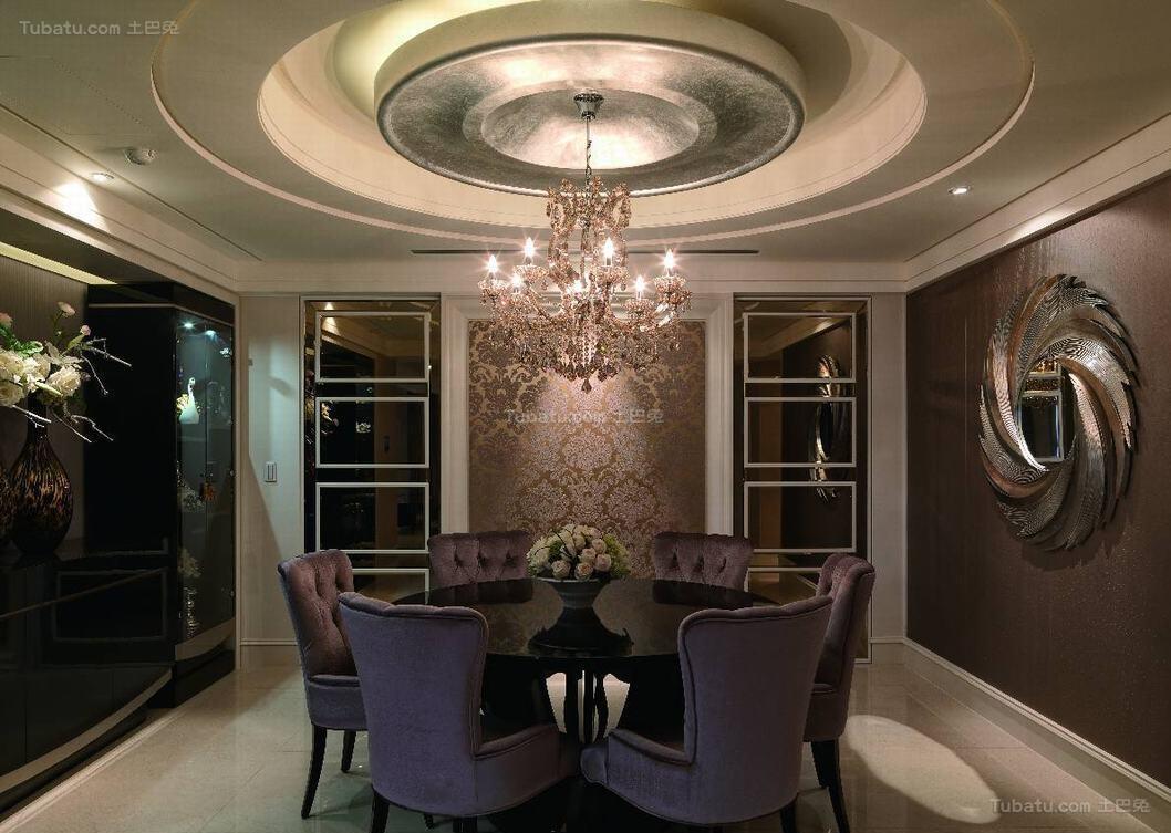 新古典风奢靡美观餐厅设计效果图