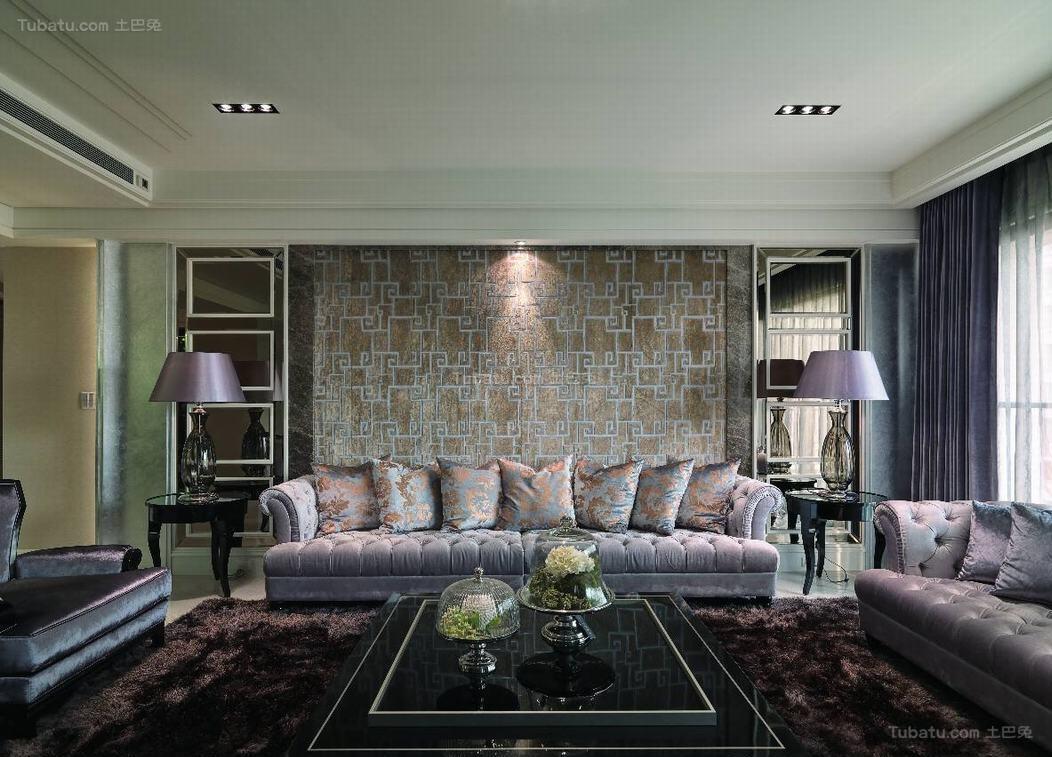 新古典风奢靡美观二居室设计效果图