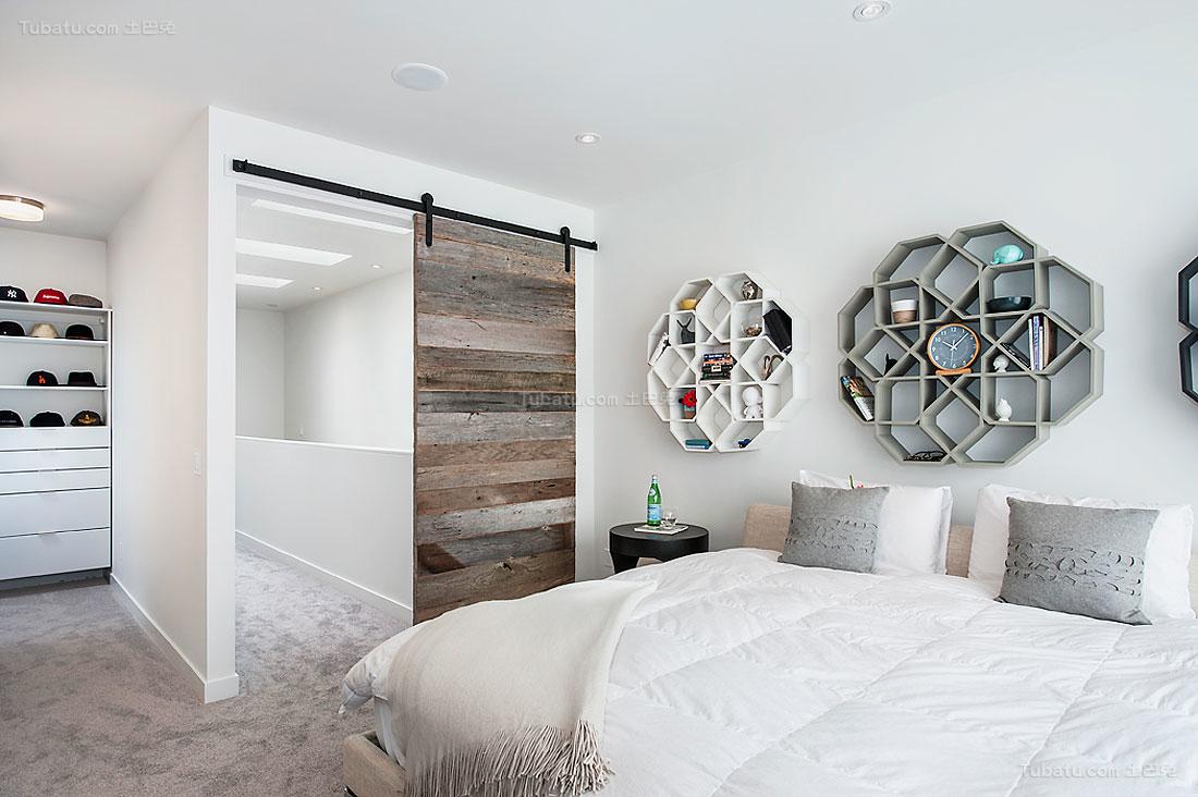 现代简约风混搭感卧室欣赏图