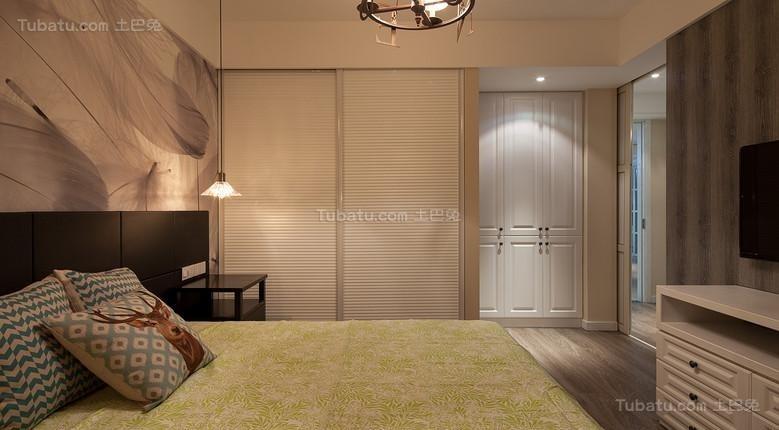 混搭风格蓝色雅致主卧室图片