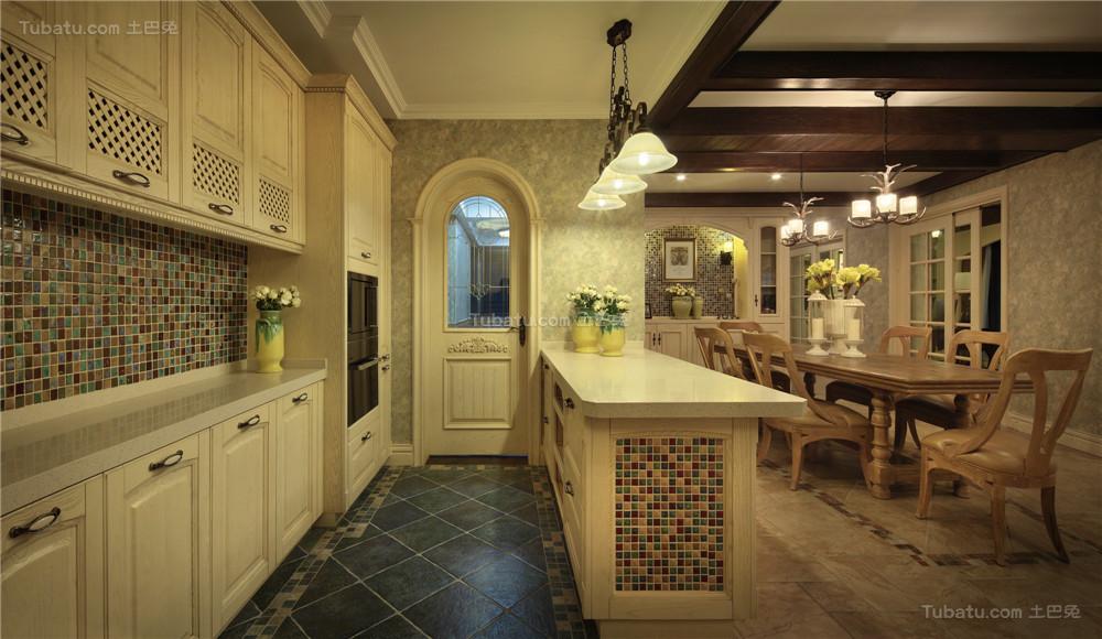 美式精美清雅厨房欣赏图