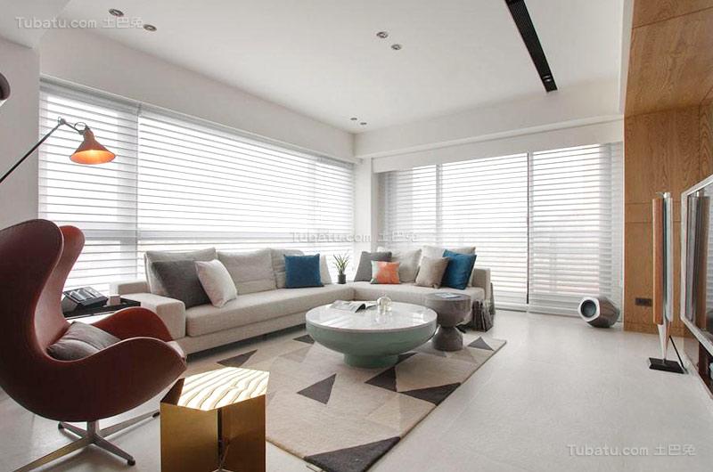 北欧时尚风格二居室设计效果图