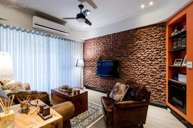 乡村美式电视背景墙设计图片