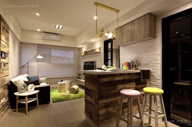清新北欧单身公寓吧台设计图片
