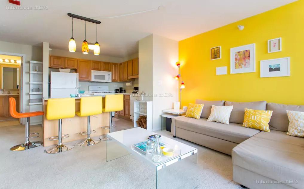黄色彩美北欧风一居室图片大全