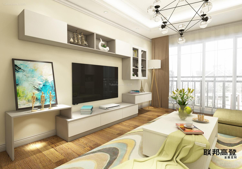 现代简约浅咖啡配纯白客厅电视柜
