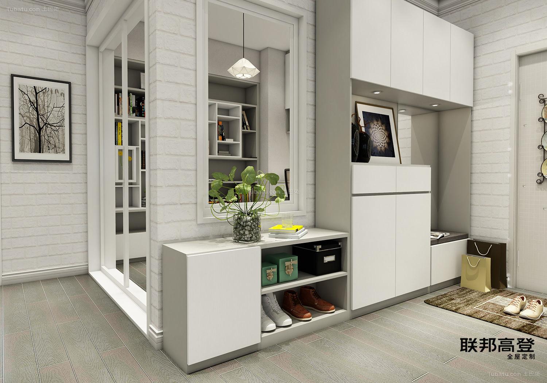 现代简约浅咖啡配纯白入户鞋柜