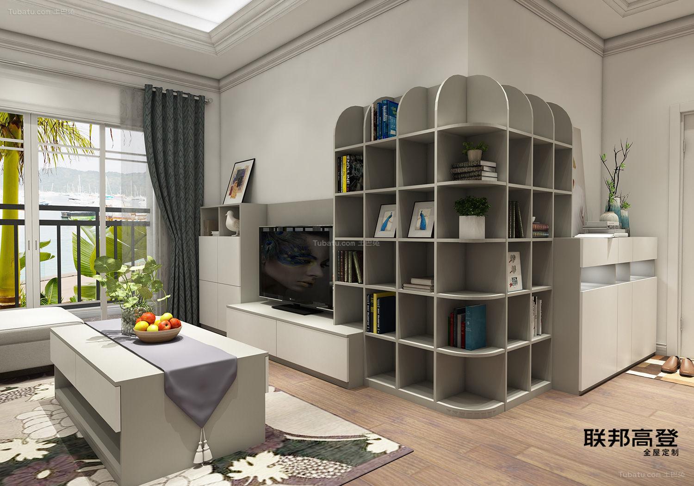 现代简约浅咖啡配纯白转角装饰柜