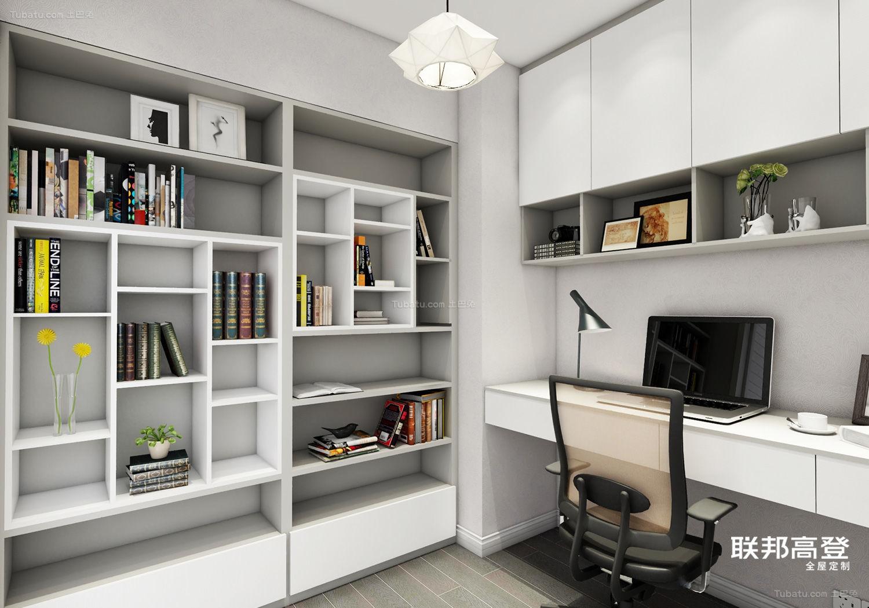 现代简约浅咖啡配纯白书房效果图