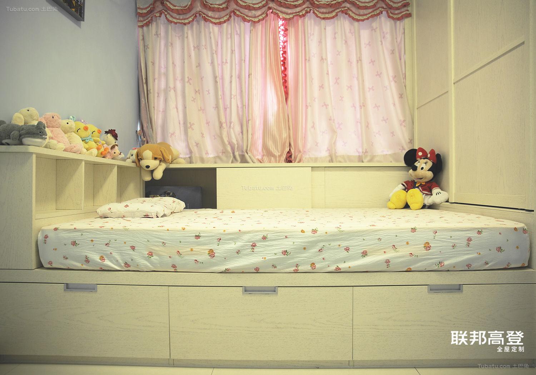 儿童房L型床头储物柜