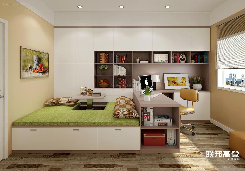 现代简约浅咖啡配纯白多功能客房效果图