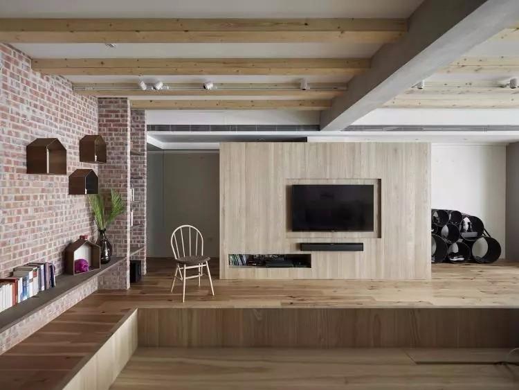 三居室,木地板上墙效果好赞10596059