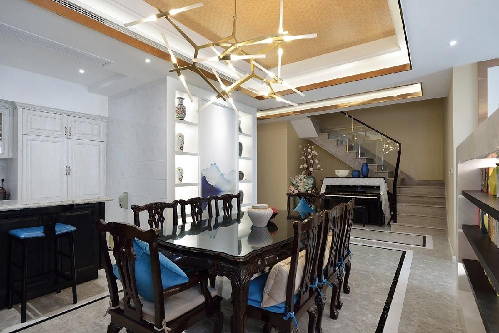 三层别墅新中式蓝调风格10757451