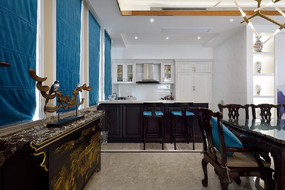 三层别墅新中式蓝调风格10757456