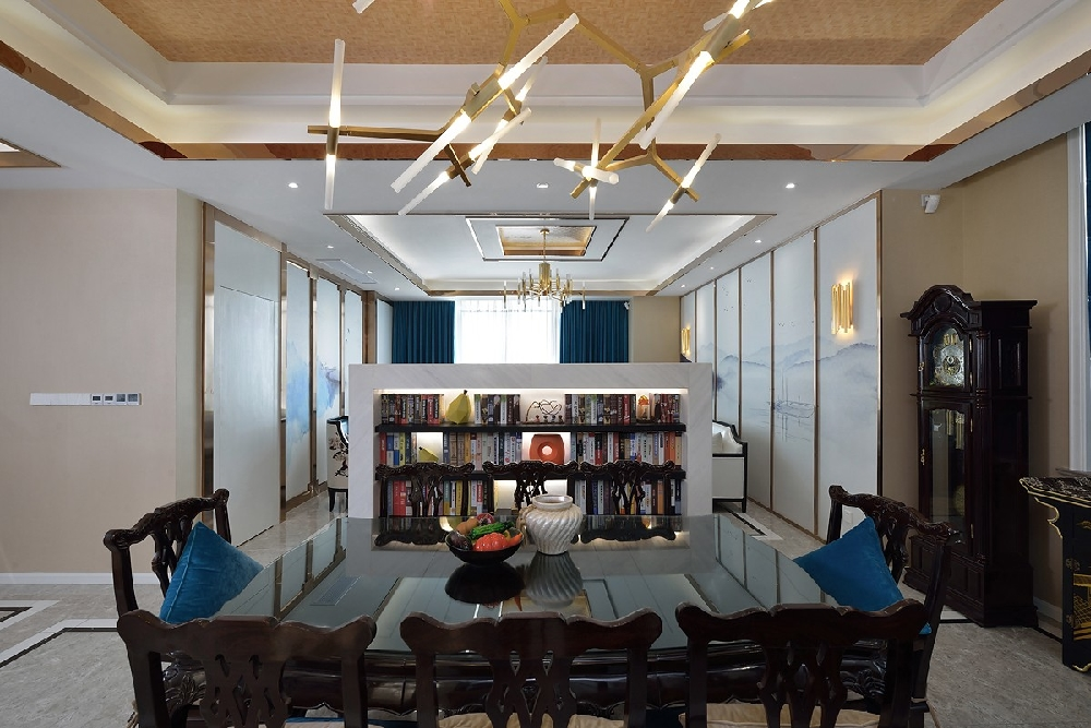 三层别墅新中式蓝调风格10757449