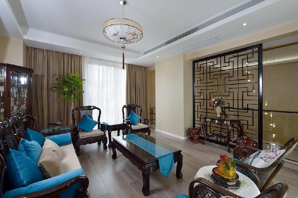三层别墅新中式蓝调风格10757475