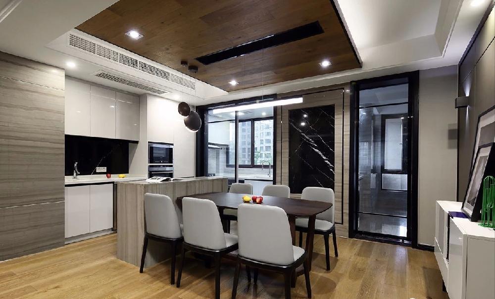 时尚质感简约大平层 阳台改厨房扩大餐厅11182921