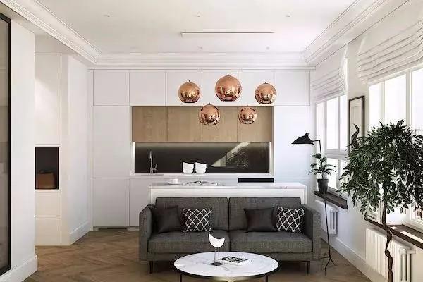 現代簡約兩居,客餐廳極簡漂亮時尚11472913