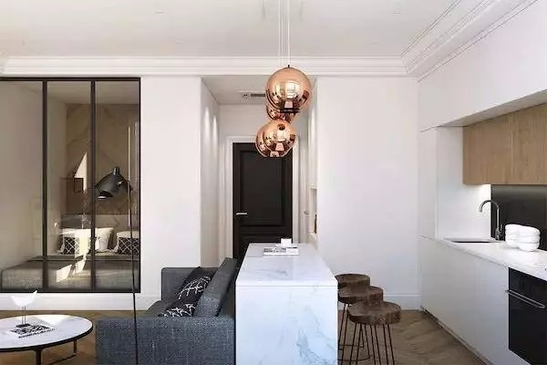 现代简约两居,客餐厅极简漂亮时尚11472911