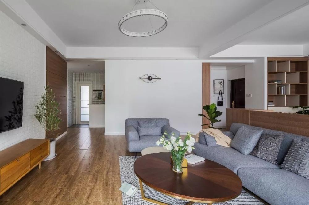 溫馨簡約現代風格,客廳雙人工作臺巧變隔斷11517050