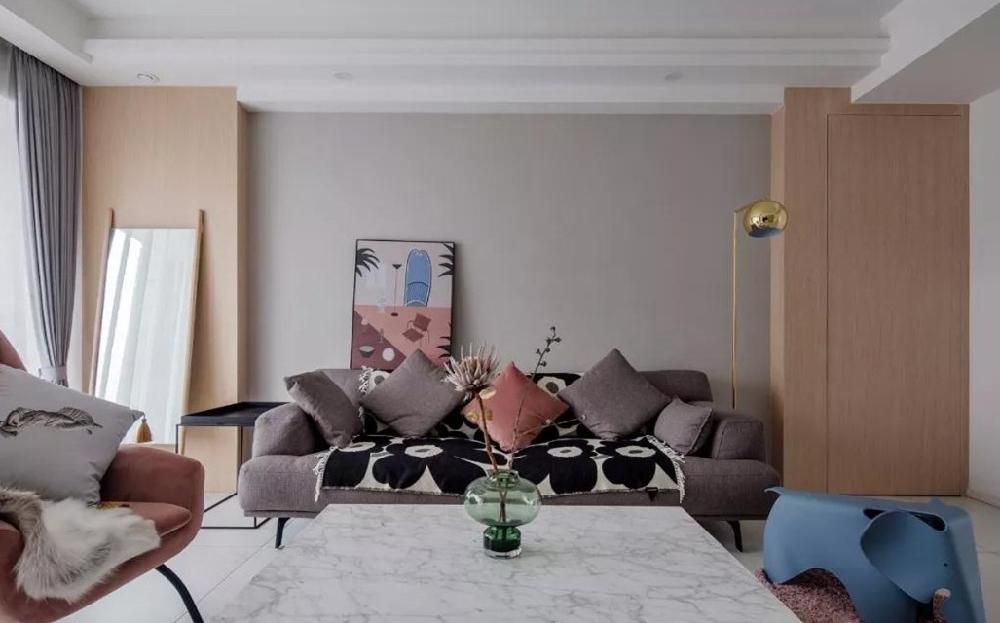 123㎡9北欧婚房 客厅两扇隐形门11936940