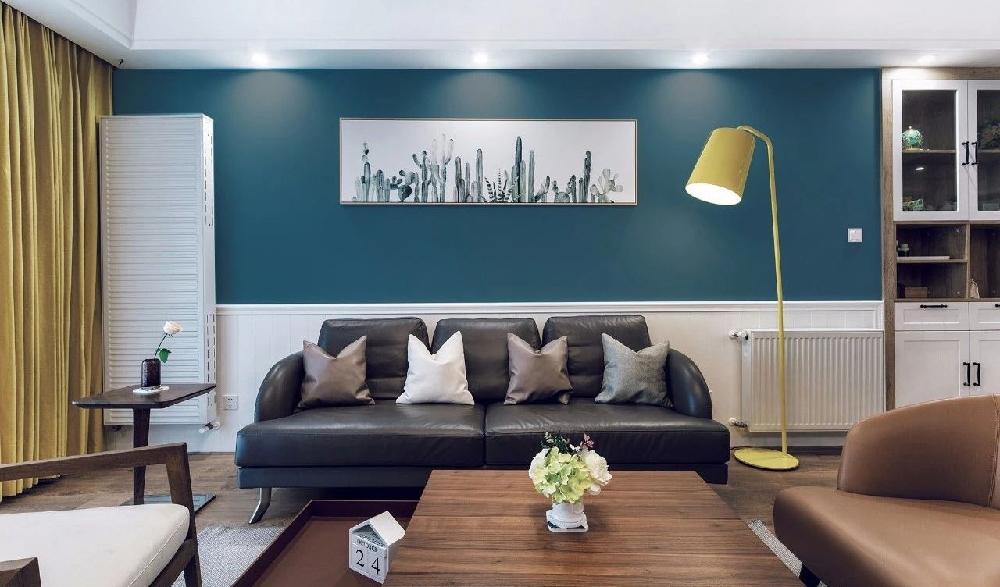 120平现代三口之家,电视背景地板上墙11916499