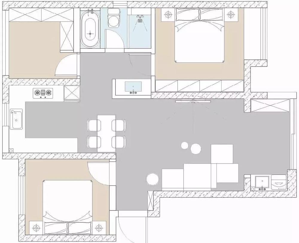 裝95平北歐新房,深灰色臥室太有格調了。12663528