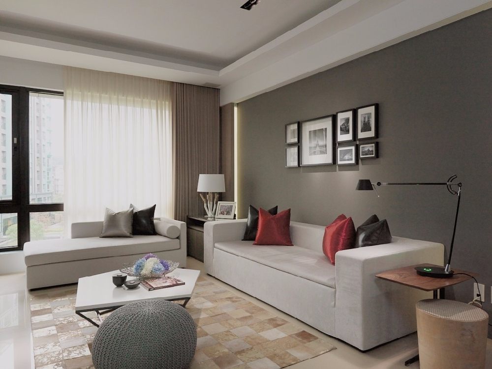 現代簡約風格裝修,高級灰的簡約客廳背景墻13380393