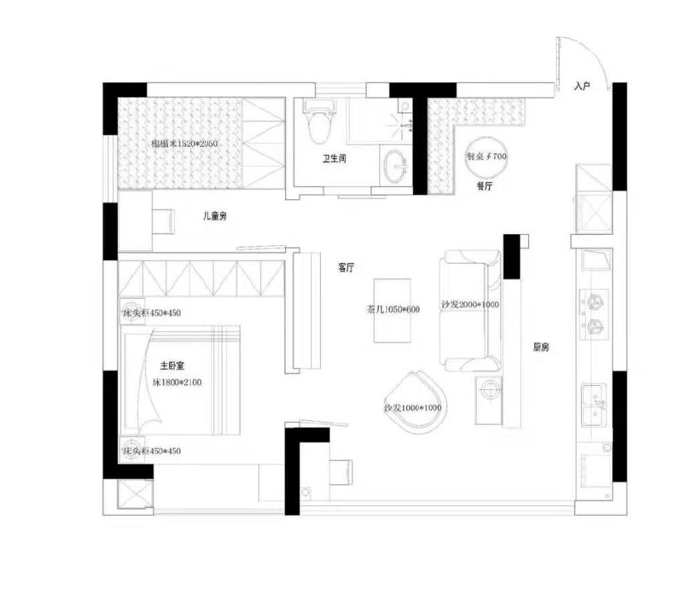 52平米的二居室,美式風1439872