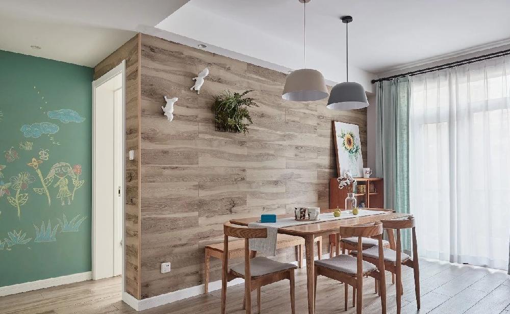 134平简约北欧三居 地板上墙作餐厅背景14050260