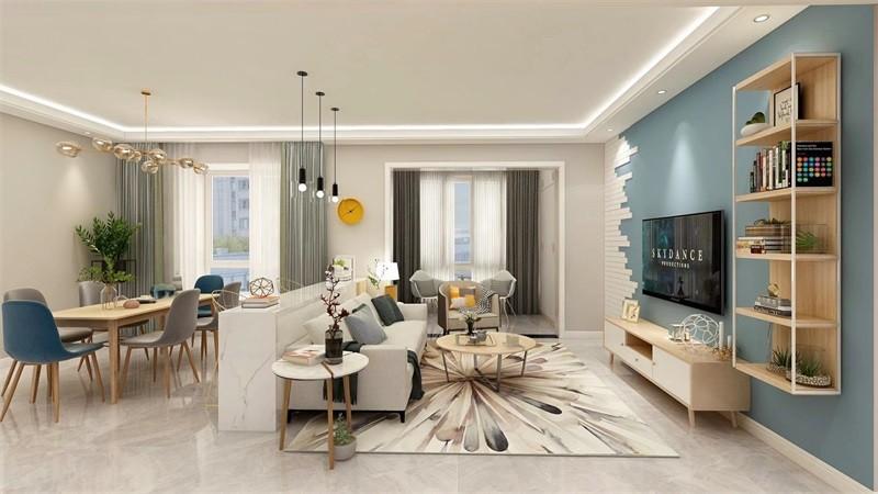 蓝光香江国际114㎡三居室北欧风格效果图14792062