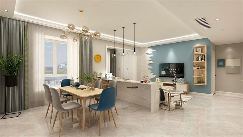 蓝光香江国际114㎡三居室北欧风格效果图14792063
